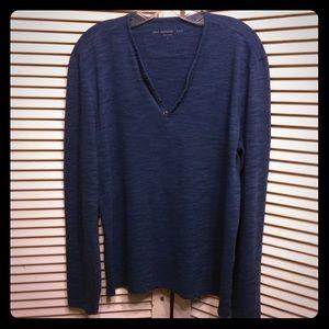 John Varvatos LS Henley Style Shirt L Blue Peru